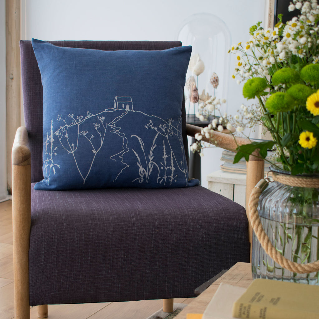 rame head cushion indigo blue linen