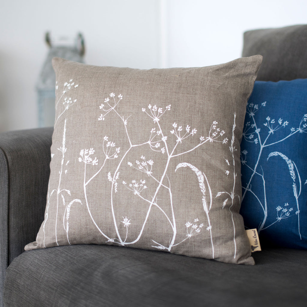 natural linen hedgerow cushion