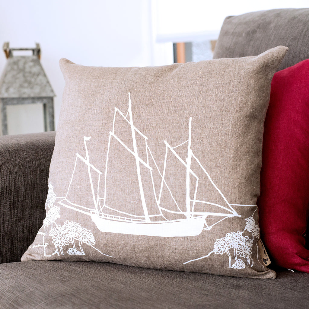 natural linen cushion with boat lugger
