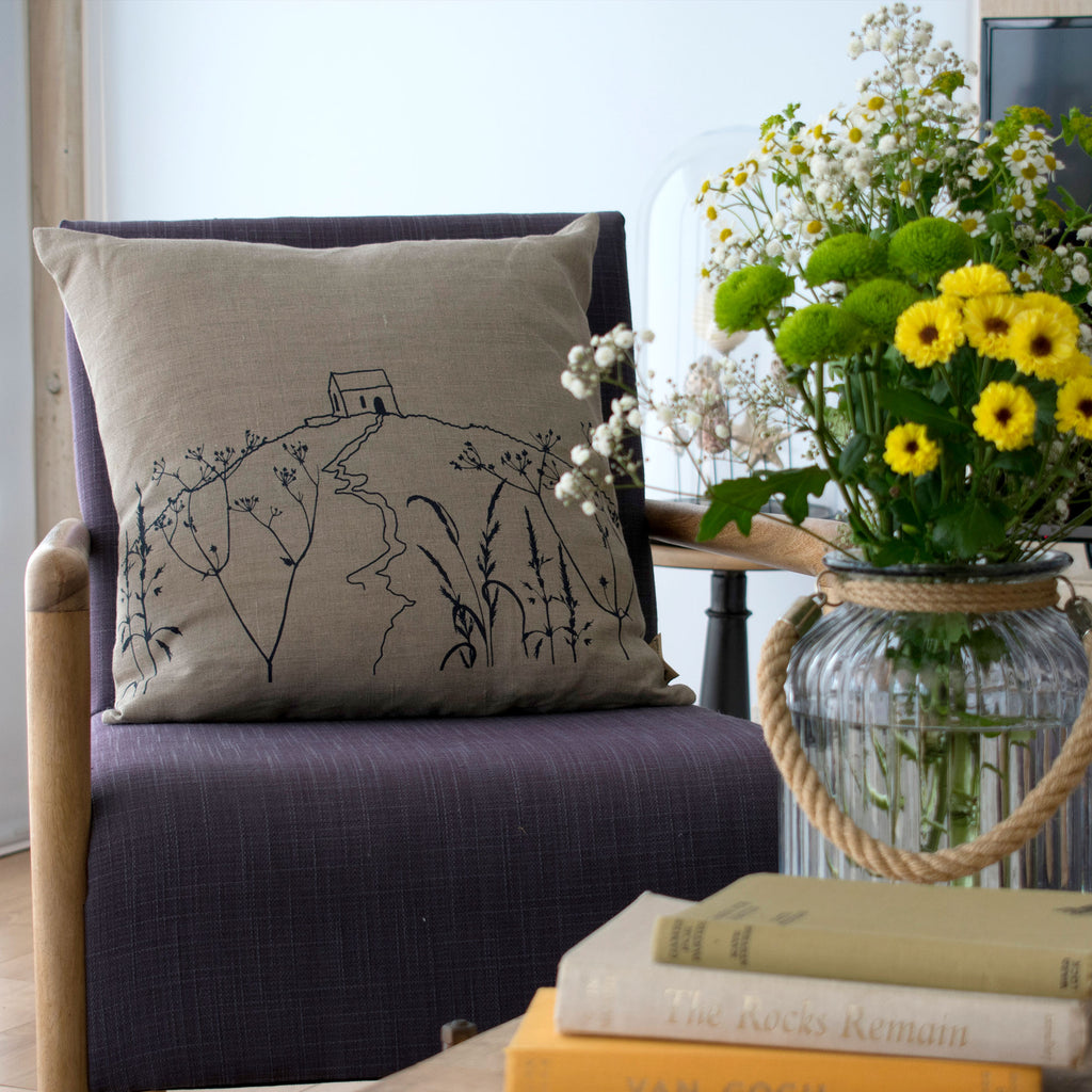 Rame head cushion natural linen