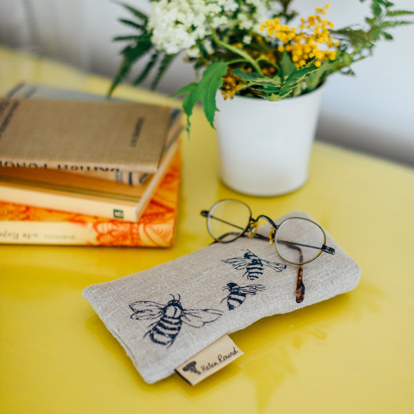 linen bee glasses case in natural from the honey bee collection