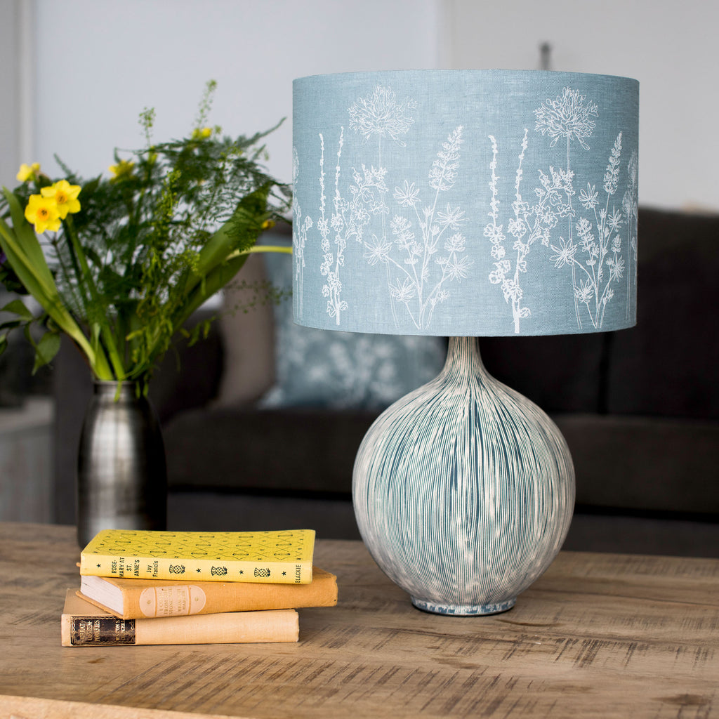 duck egg blue floral linen lampshade 30cm