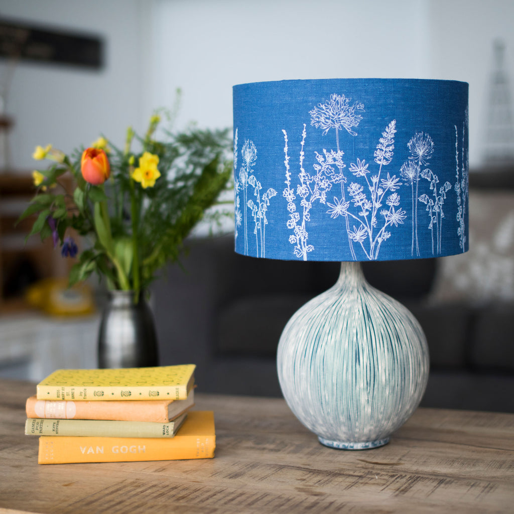 floral linen lampshade blue drum shade 30cm