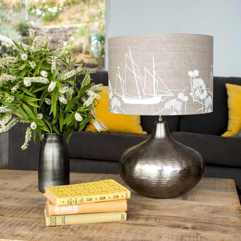 sailing boat lampshade in natural from the coastal collection boat image 30cm