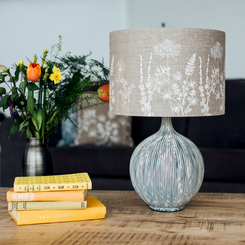 linen lampshade - natural floral 30cm drum
