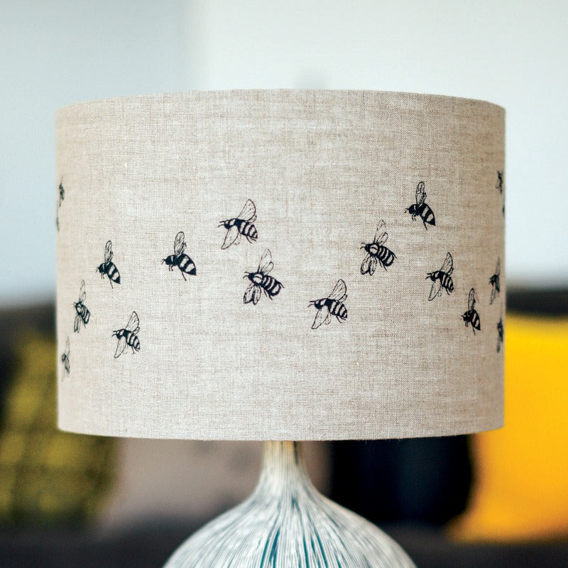 natural linen bee lampshade with bees 30cm