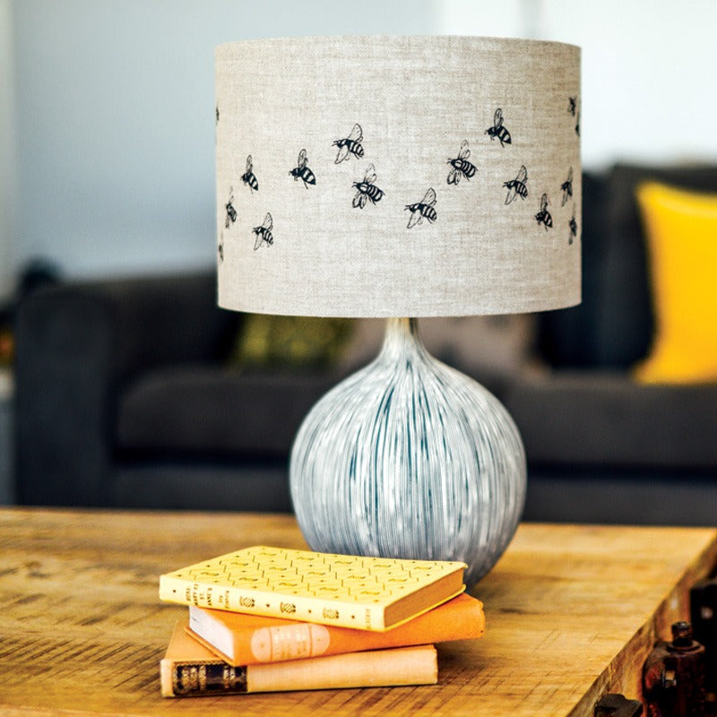 bee lampshade natural linen bee design 30cm