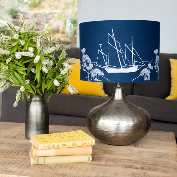 sailing boat lampshade in navy blue from the coastal collection boat image