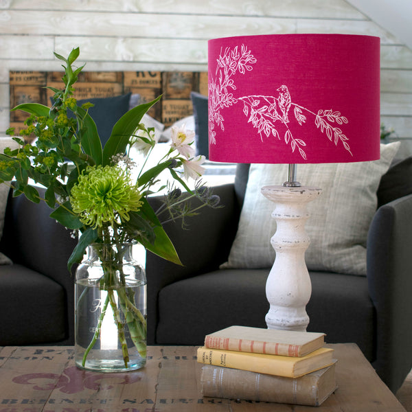 bird lampshade in raspberry linen 30cm