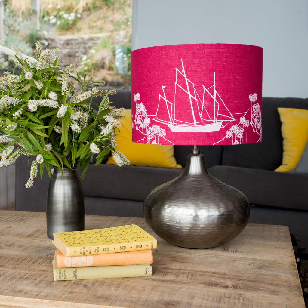 sailing boat lampshade in red linen from the coastal collection boat image 30cm