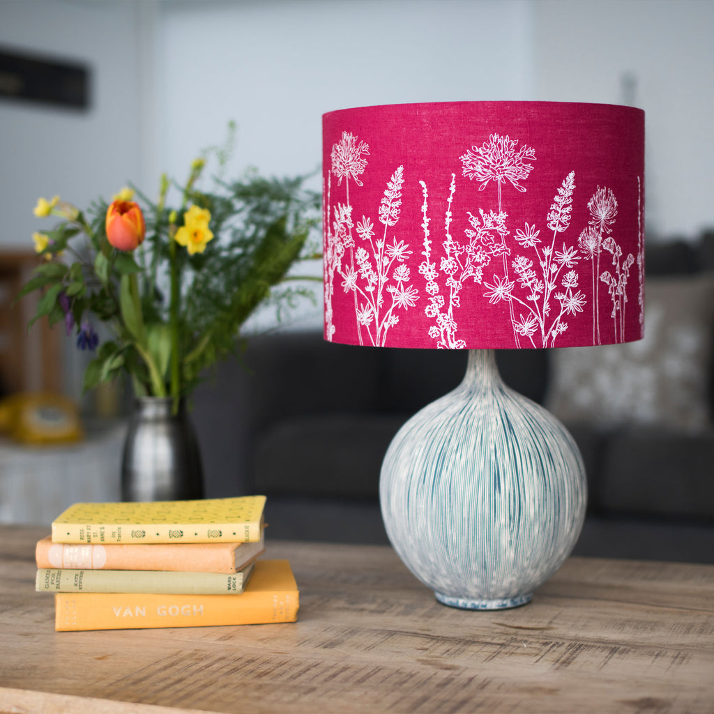 Lampshade Making Workshop raspberry red drum shade 30cm floral linen lampshade