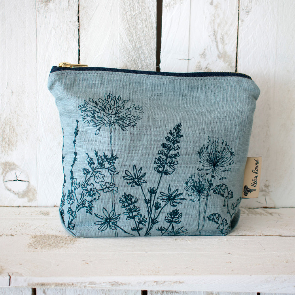 Linen make up bag from the garden collection in the colour hollyhock duck egg blue