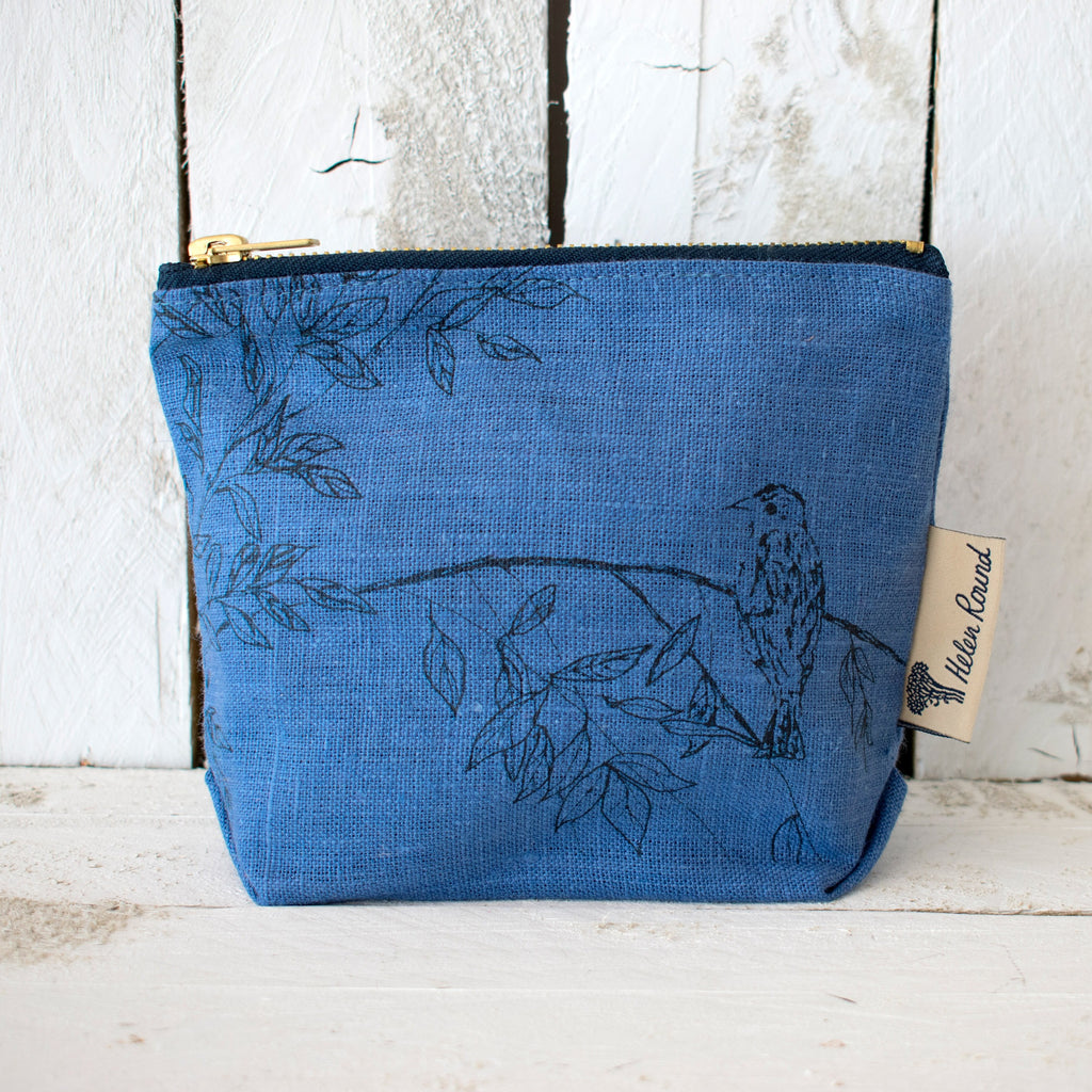 Linen make up bag from the birdsong collection in the colour indigo blue