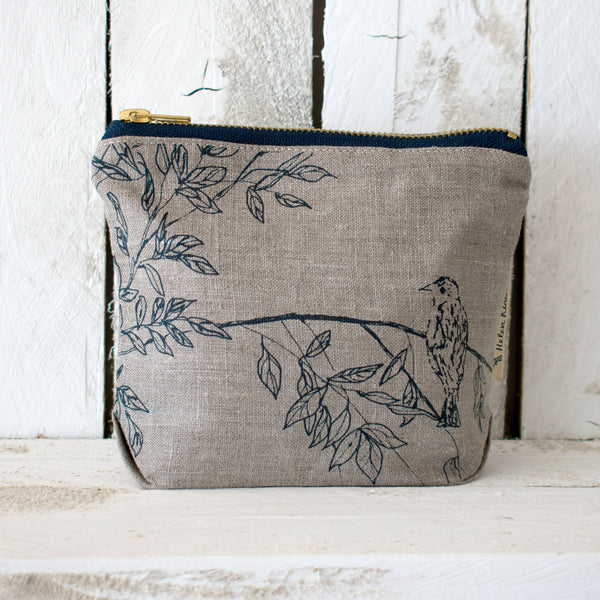 Linen make up bag from the birdsong collection in the colour natural