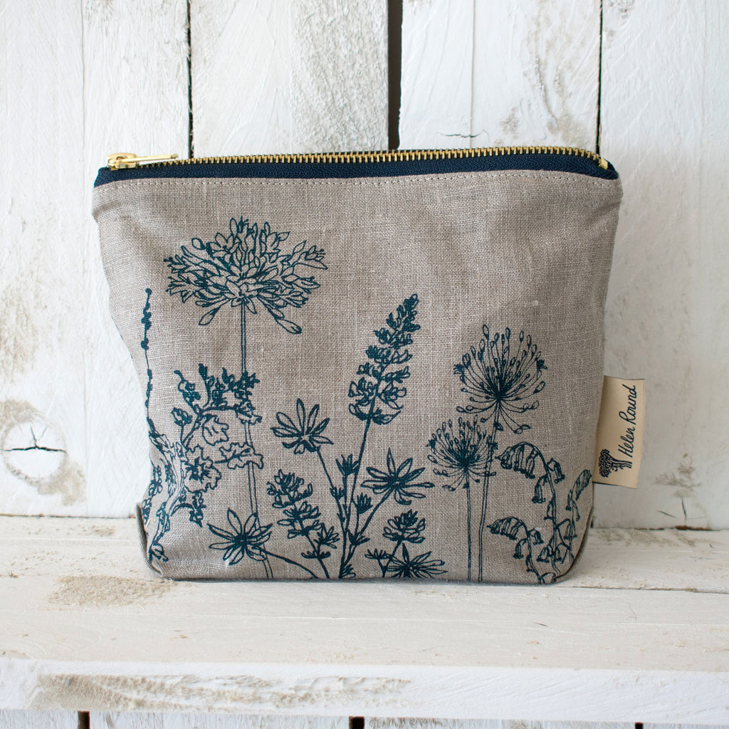 Linen make up bag from the garden collection in the colour natural