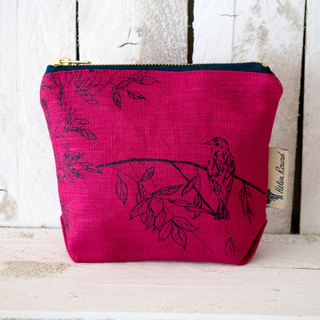 Linen make up bag from the birdsong collection in the colour indigo red