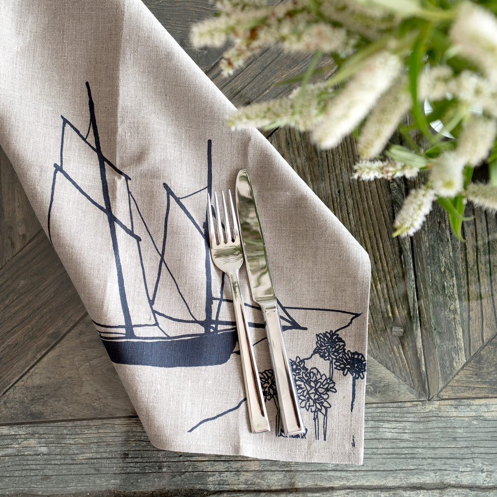 Linen coastal napkins from the helen round coastal collection