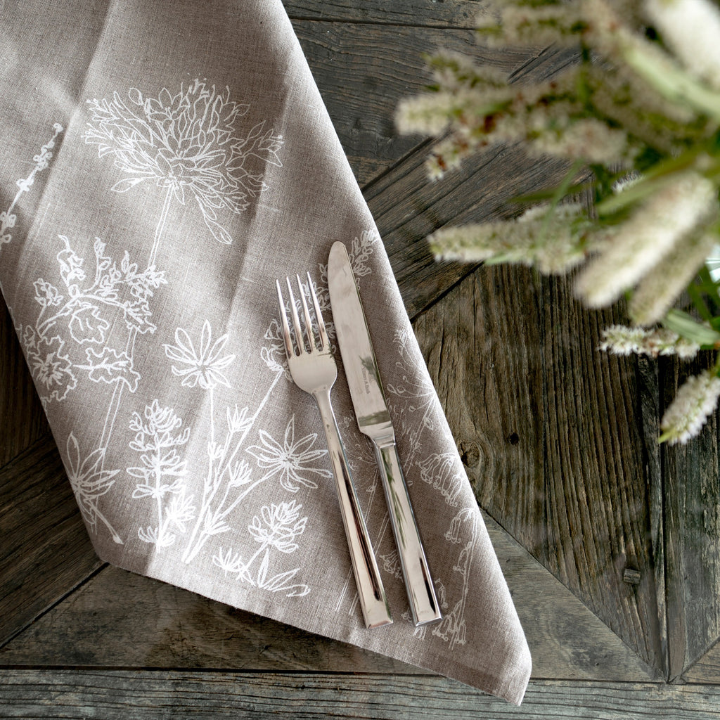 Linen napkins from the helen round garden collection