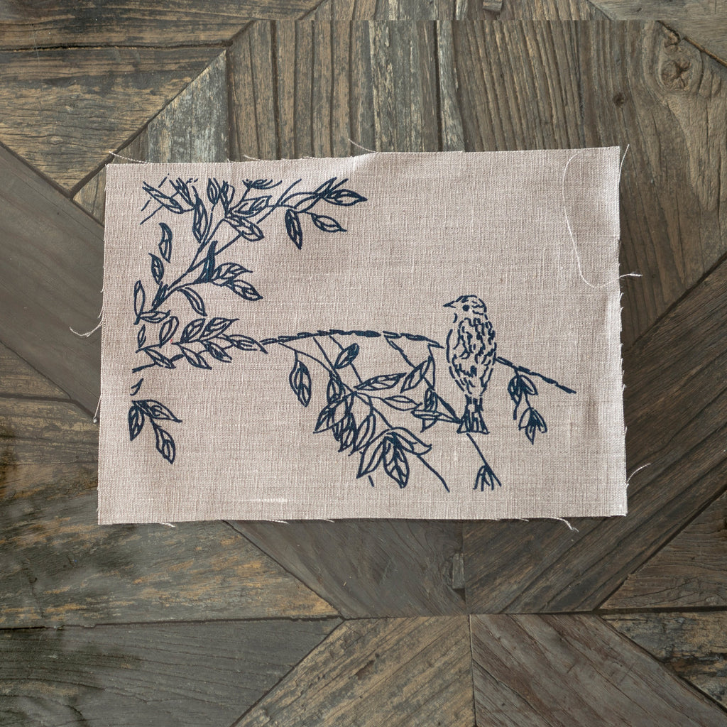 linen patchwork square birdsong collection