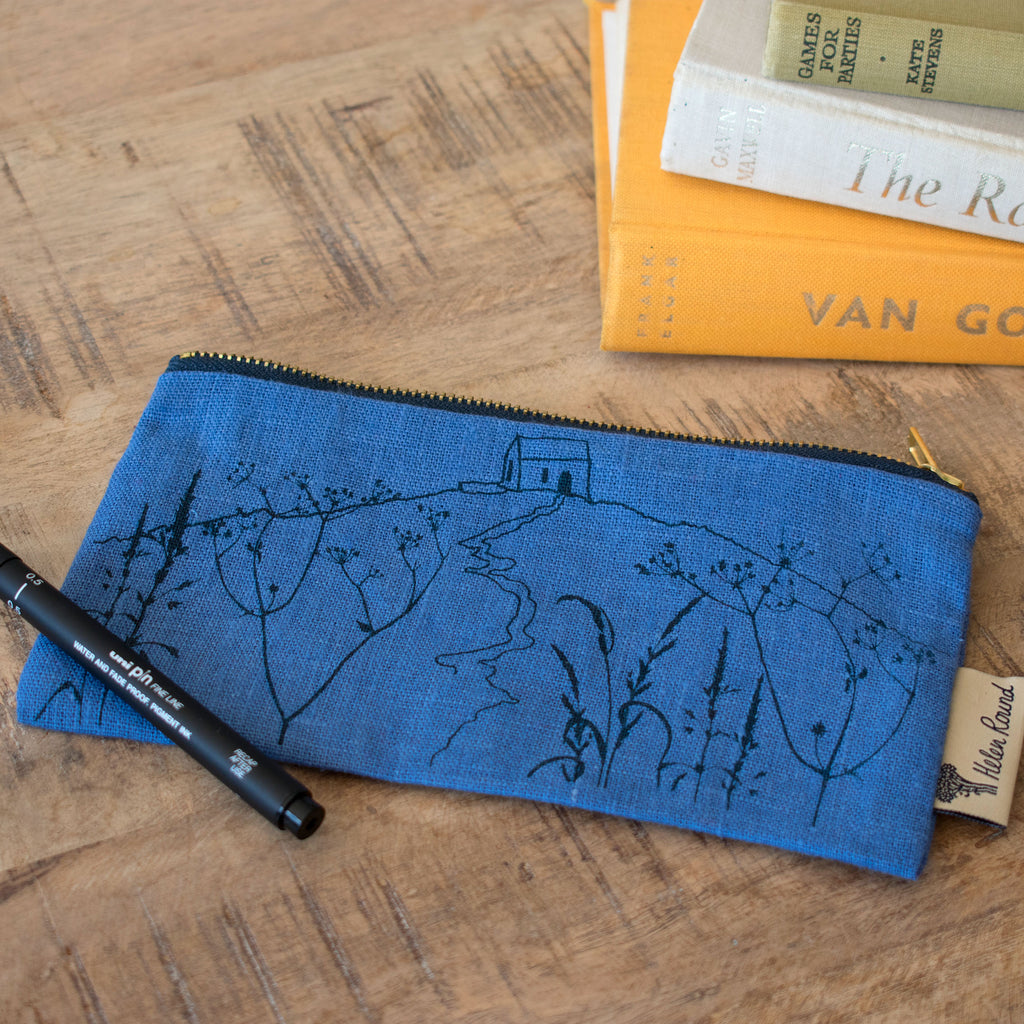 rame head pencil case indigo blue linen