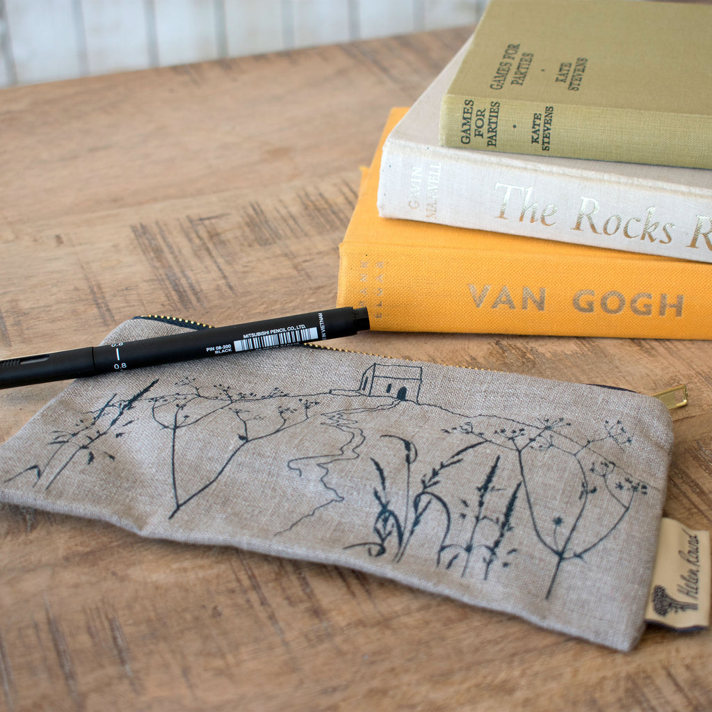 rame head pencil case natural linen