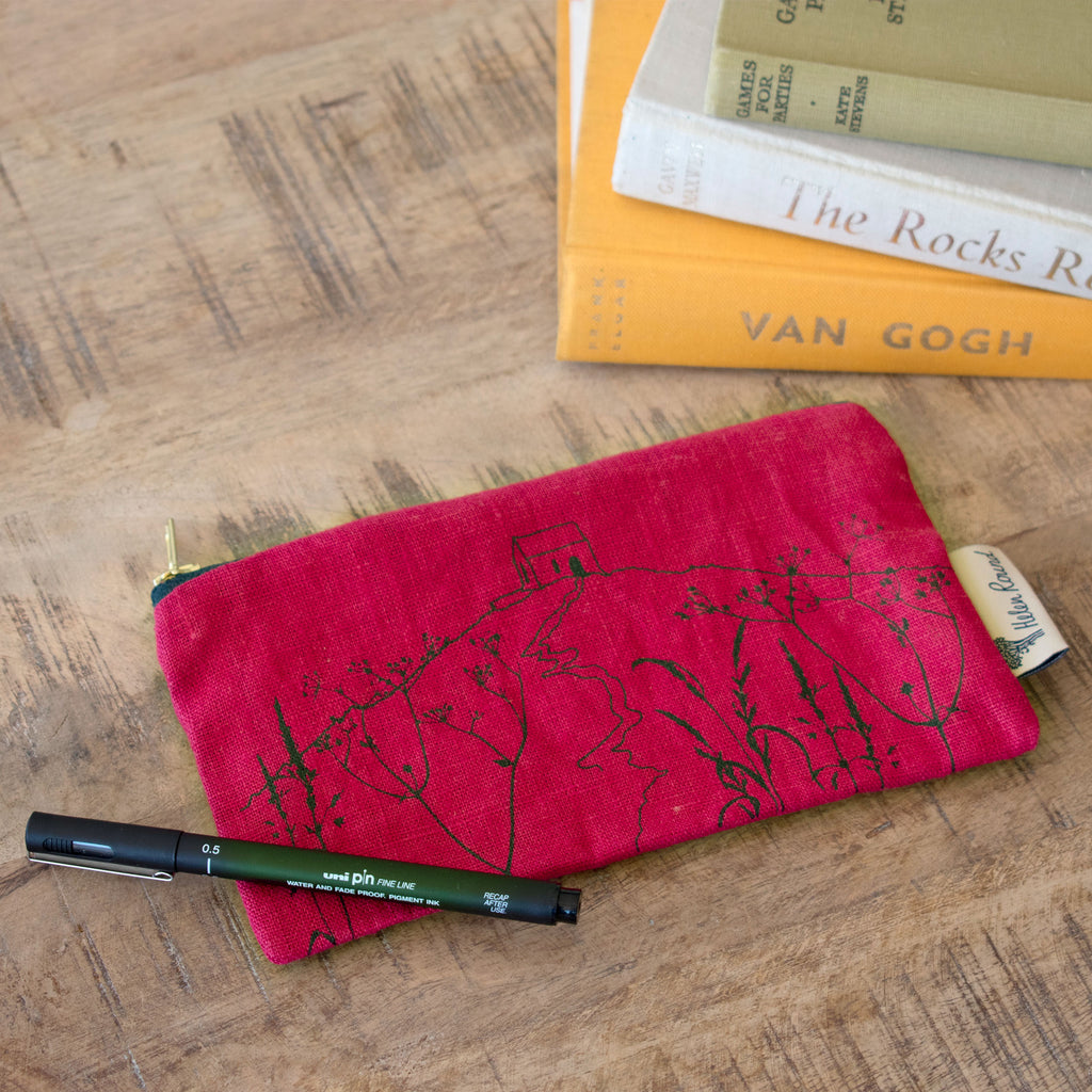 rame head pencil case raspberry linen