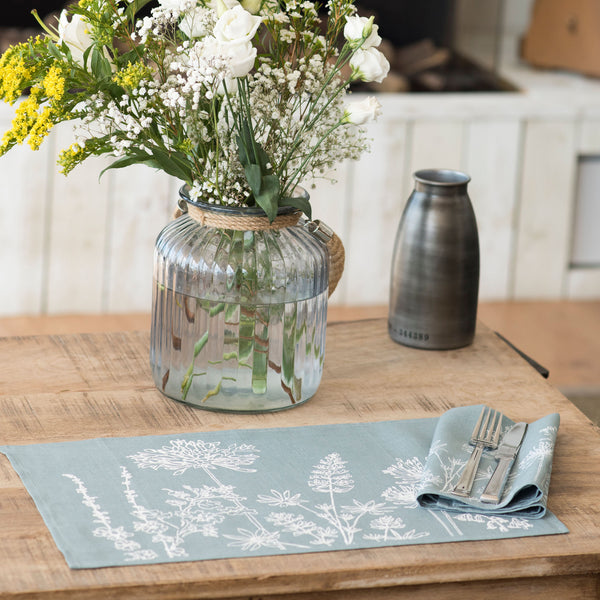 Duck egg blue linen placemats flowers