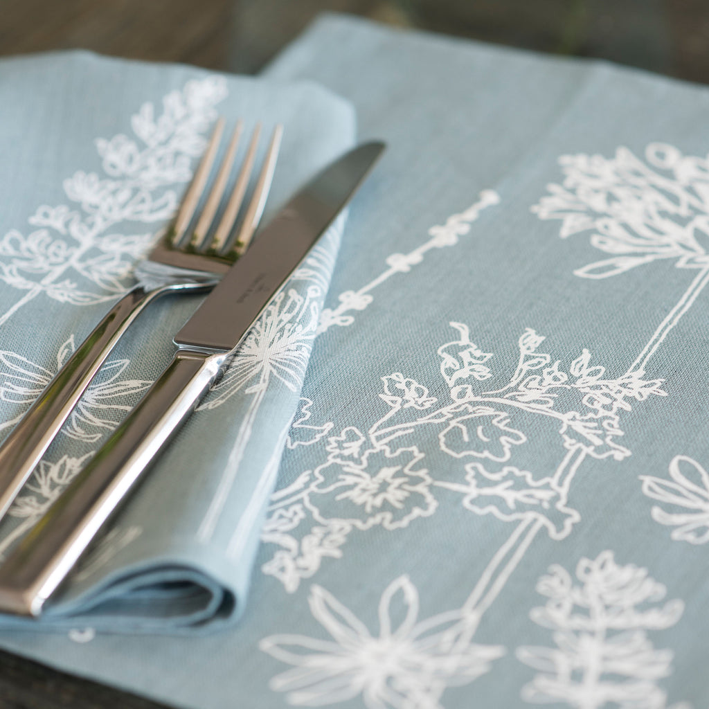 linen napkins flower design duck egg blue