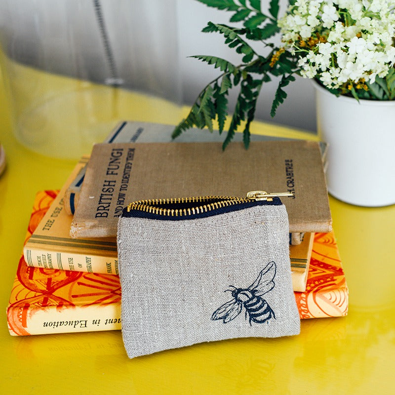 natural linen bee coin purse with velvet lining bee print