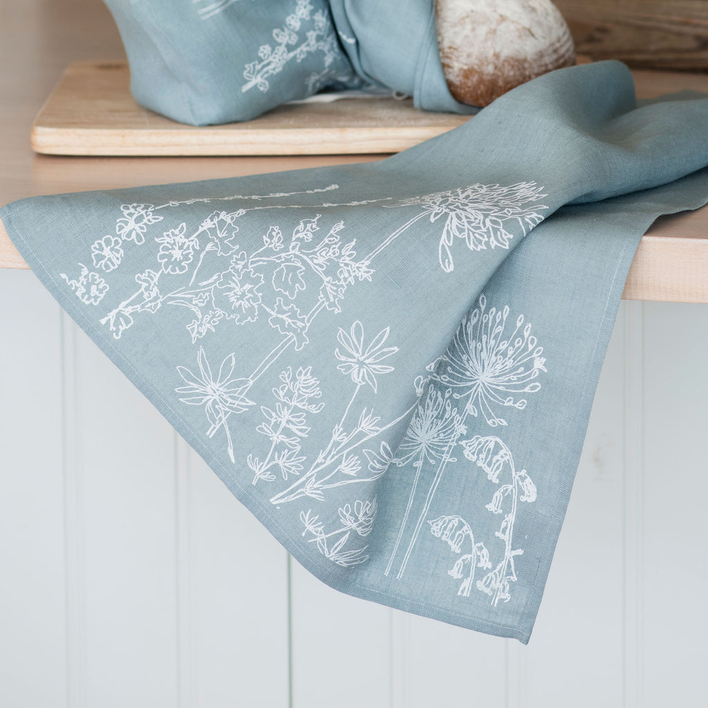 linen tea towel duck egg blue with flowers