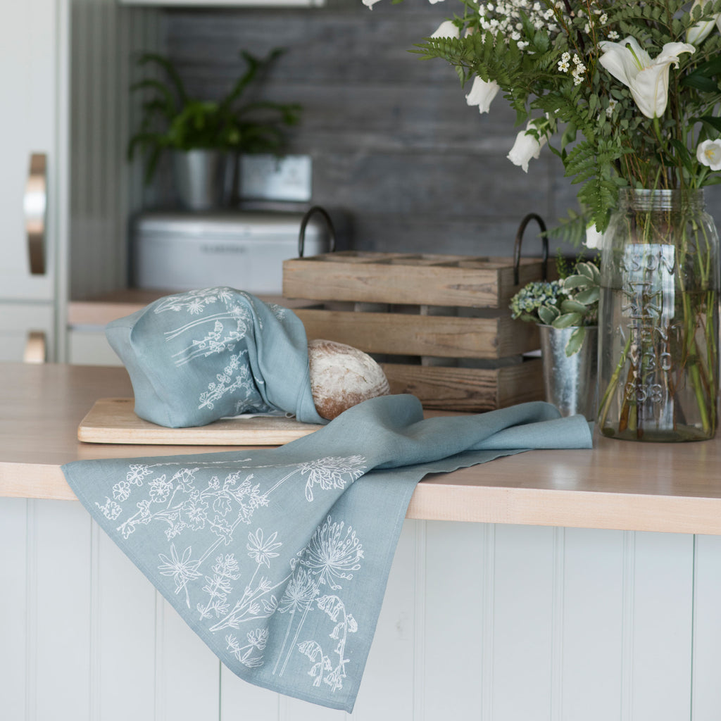 linen tea towel duck egg blue flower design