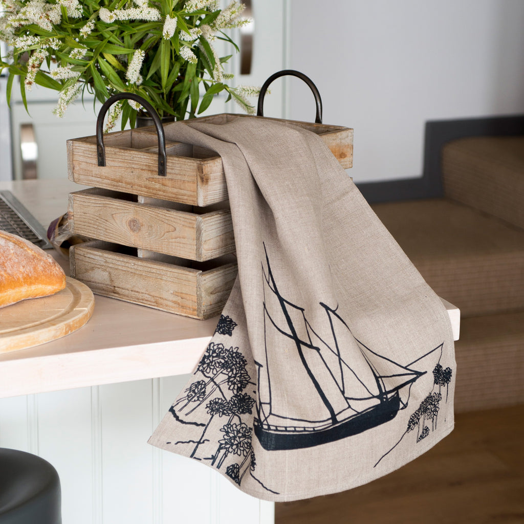 sailing boat tea towel in natural pure linen