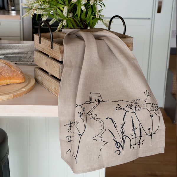 Rame head tea towel in natural linen
