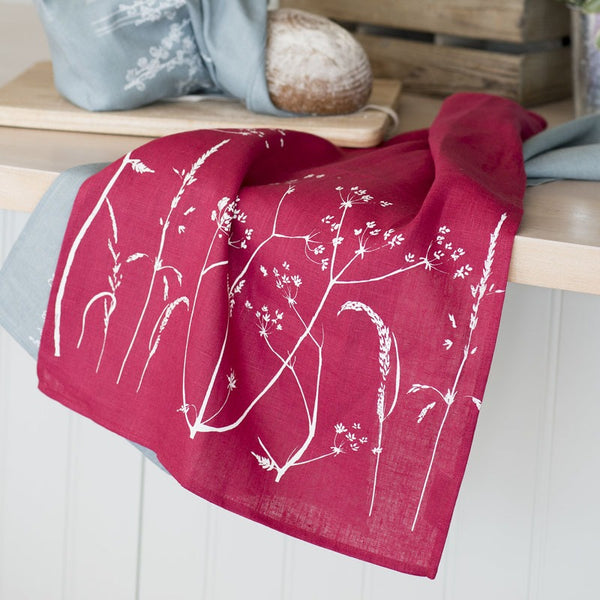 pure linen tea towel red raspberry
