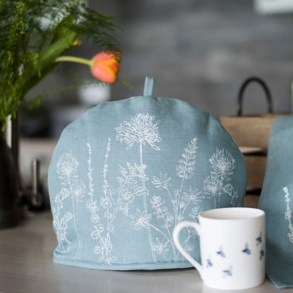 linen tea cosy flower design duck egg blue