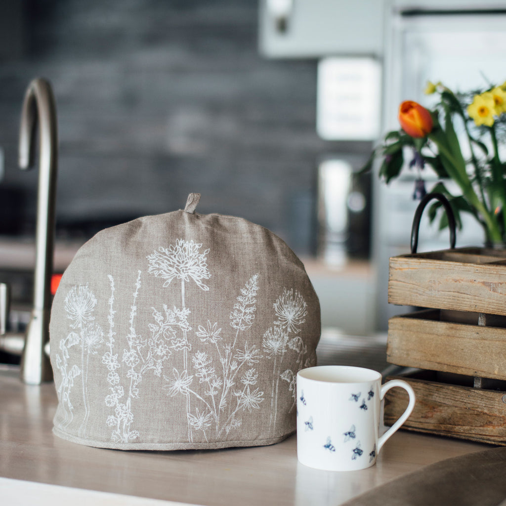 linen tea cosy natural linen flower design
