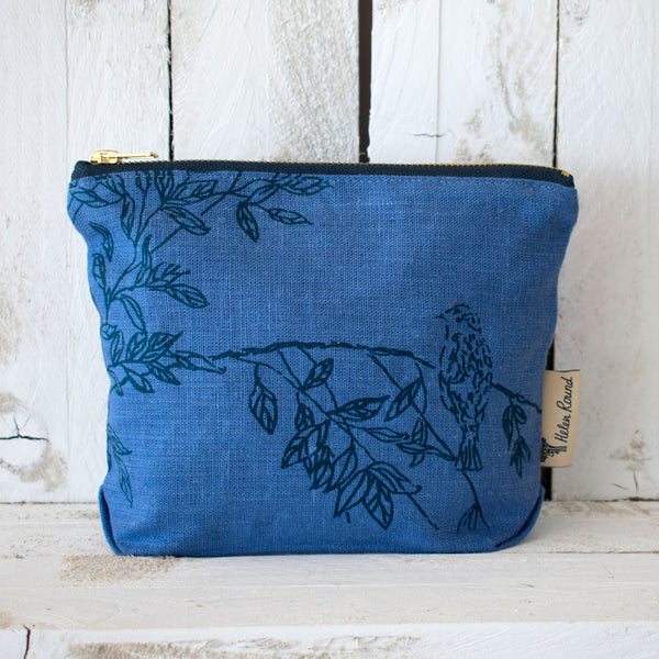 bird toiletry bag in indigo blue linen