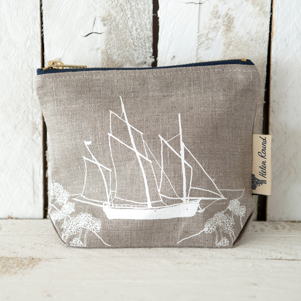 Linen make up bag from the coastal collection in the colour natural