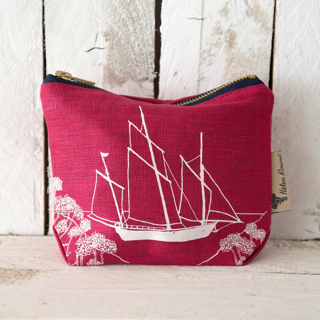 Linen make up bag from the coastal collection in the colour red