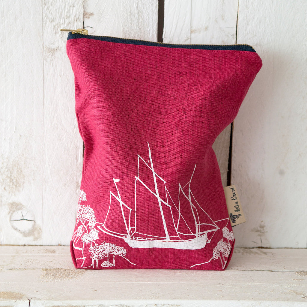 Linen toiletry bag from the coastal collection in the colour red