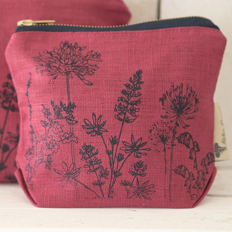 raspberry linen makeup bag