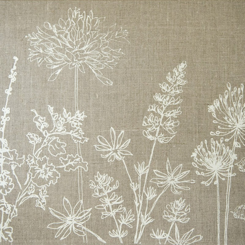 natural linen tea towel with flowers