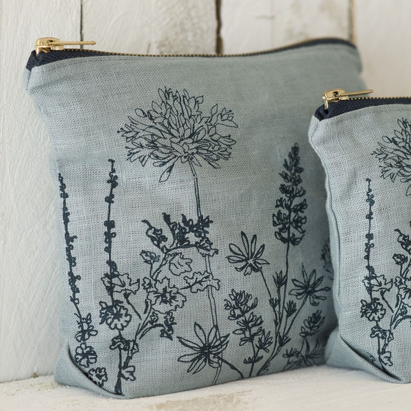 Linen Toiletry Bag Hollyhock Duck Egg Blue with flowers