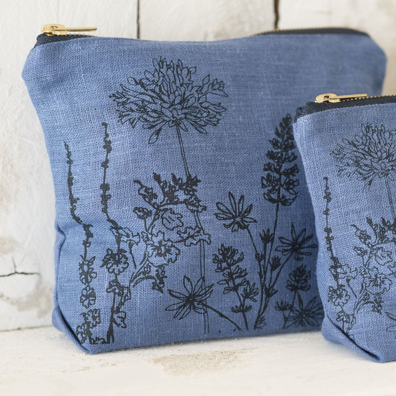 Linen Toiletry Bag Indigo Blue with flowers