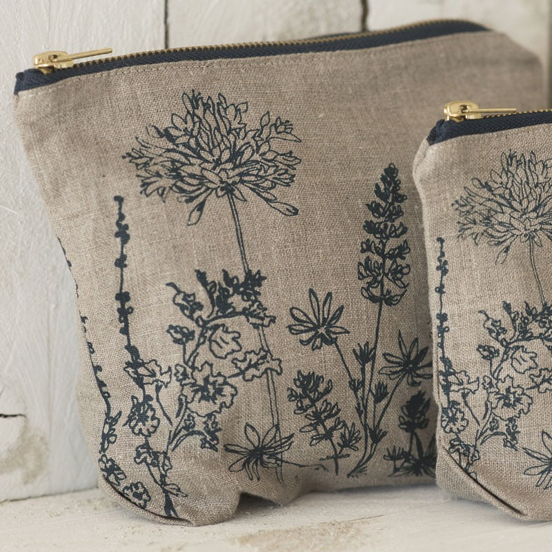 Linen Toiletry Bag Natural flowers