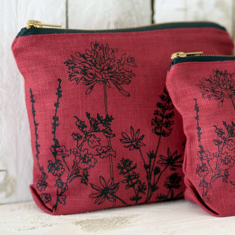 Linen Toiletry Bag Raspberry with flowers