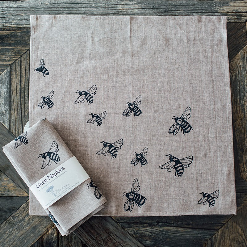 linen bee napkins bee design