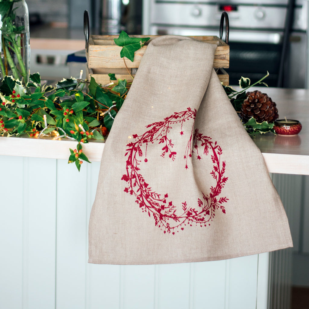 christmas tea towel natural linen holly ivy design