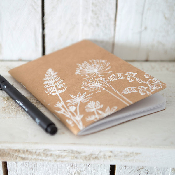 garden design small notebook plain paper A6 hand printed