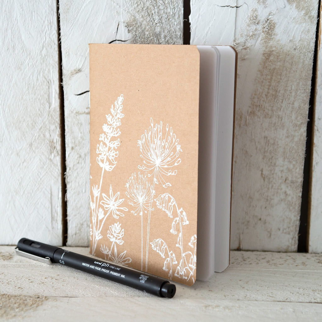 garden collection notepad plain paper A6 hand printed